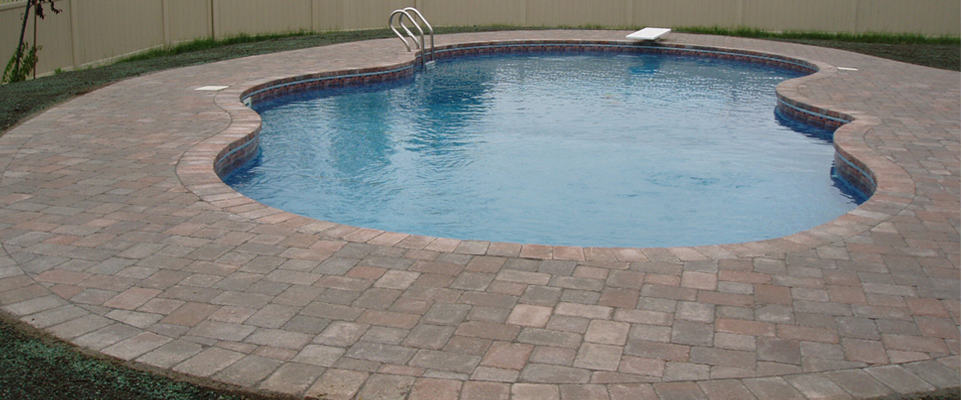 Paver pool patio with matching coping